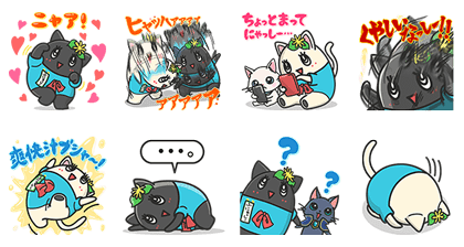 White and Black Cat & funyasi Stickers