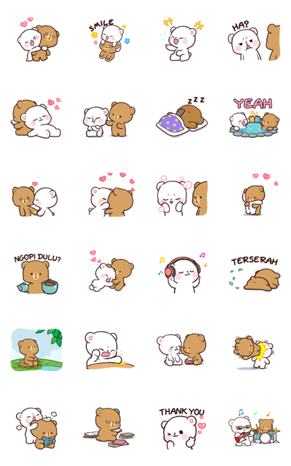 Milk & Mocha: Unstoppable Lovers Line Sticker GIF & PNG Pack: Animated & Transparent No Background | WhatsApp Sticker