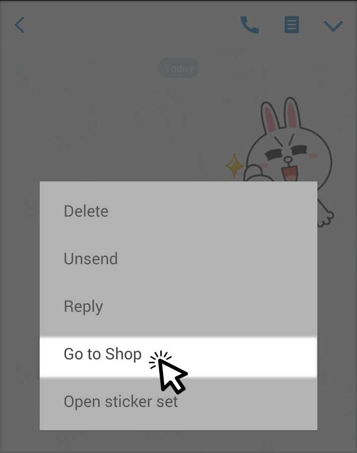 Go to LINE Sticker Store & Shop