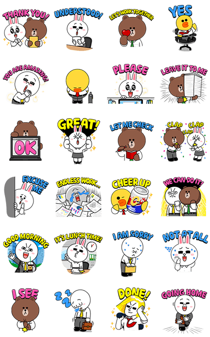 BROWN & FRIENDS Workplace Stickers Line Sticker GIF & PNG Pack: Animated & Transparent No Background | WhatsApp Sticker