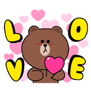 Free Brown & Cony Heart Melting Romance LINE sticker for WhatsApp
