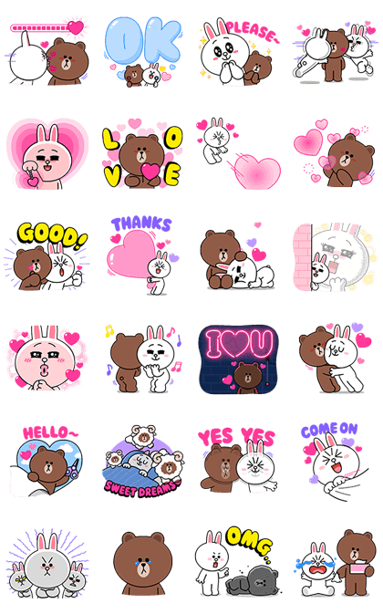 Download Brown & Cony Heart Melting Romance Sticker LINE and use on WhatsApp