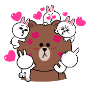Brown & Cony's Heart-Throbbing Love Sticker for LINE & WhatsApp | ZIP: GIF & PNG
