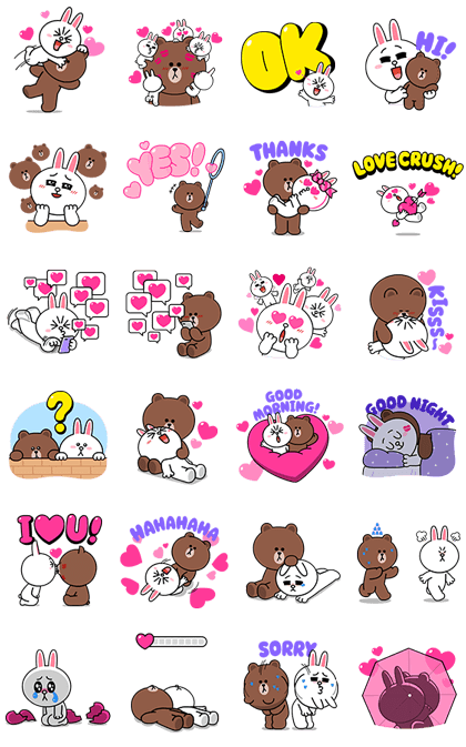 Brown & Cony's Heart-Throbbing Love Line Sticker GIF & PNG Pack: Animated & Transparent No Background | WhatsApp Sticker