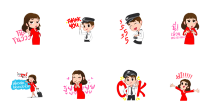 Captain AA & Nong Air - 12896 Line Sticker GIF & PNG Pack: Animated & Transparent No Background | WhatsApp Sticker