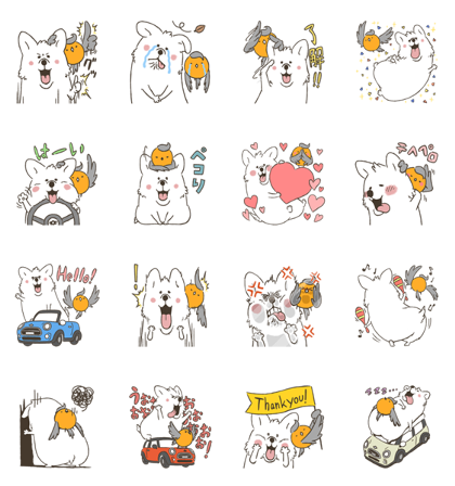 Corgi and Robin Line Sticker GIF & PNG Pack: Animated & Transparent No Background | WhatsApp Sticker