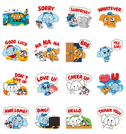 Denra and Family: Limited Edition Line Sticker GIF & PNG Pack: Animated & Transparent No Background | WhatsApp Sticker
