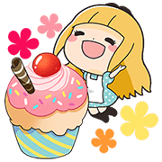 Elissy in Sweets Land Sticker for LINE & WhatsApp | ZIP: GIF & PNG