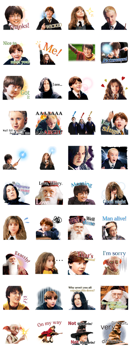 Everyday Magic! Harry Potter Line Sticker GIF & PNG Pack: Animated & Transparent No Background | WhatsApp Sticker