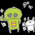 Gachapin × USAGI TEIKOKU Sticker for LINE & WhatsApp   ZIP: GIF & PNG
