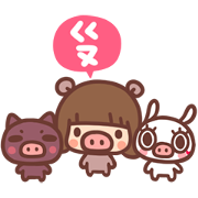 Kinoko & Labito, Year of the Pig! Sticker for LINE & WhatsApp | ZIP: GIF & PNG
