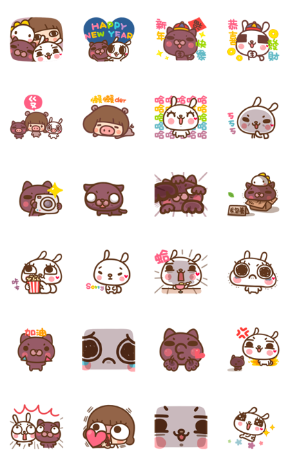Kinoko & Labito, Year of the Pig! Line Sticker GIF & PNG Pack: Animated & Transparent No Background | WhatsApp Sticker
