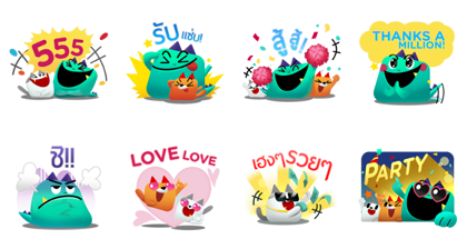 Kozy, Tabby & Ceela: Triple the Fun! Line Sticker GIF & PNG Pack: Animated & Transparent No Background | WhatsApp Sticker