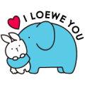 Free Loewe's Bunny & Elephant LINE sticker for WhatsApp