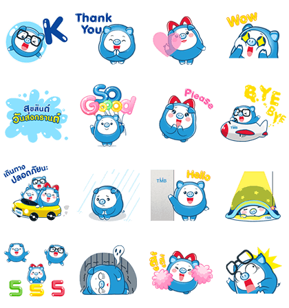 PIGGY GANG: Happy Days Line Sticker GIF & PNG Pack: Animated & Transparent No Background | WhatsApp Sticker