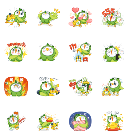 Robin Bird & friend:Let's have Fun Line Sticker GIF & PNG Pack: Animated & Transparent No Background | WhatsApp Sticker
