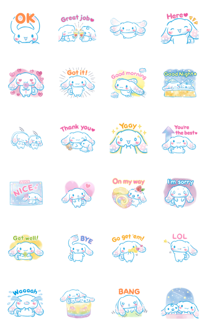 Cinnamoroll: Watercolor Wonder Line Sticker GIF & PNG Pack: Animated & Transparent No Background | WhatsApp Sticker