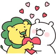 Girly Bear × Lion-chan Sticker for LINE & WhatsApp | ZIP: GIF & PNG