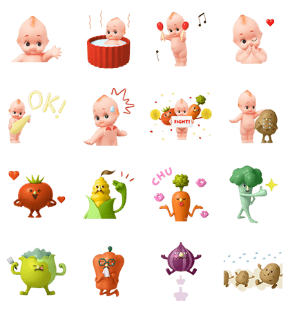 Download KEWPIE & VEGETABLE FRIENDS - 5893 Sticker LINE and use on WhatsApp