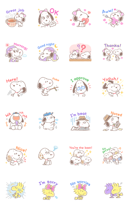 Download Lovely Snoopy and Friends Sticker LINE and use on WhatsApp