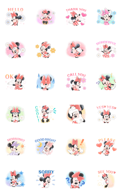 Minnie Mouse: Cute Politeness Line Sticker GIF & PNG Pack: Animated & Transparent No Background | WhatsApp Sticker