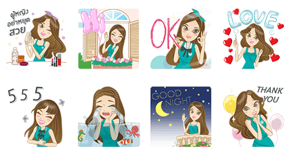 Miss OP - 7877 Line Sticker GIF & PNG Pack: Animated & Transparent No Background | WhatsApp Sticker