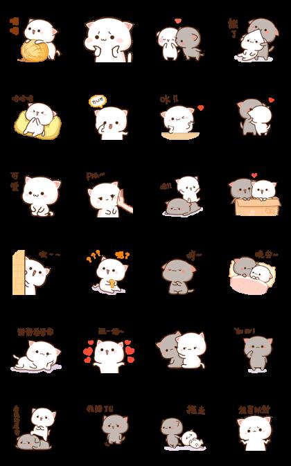 Download Mochi Mochi Peach Cat Sound Stickers Sticker LINE and use on WhatsApp