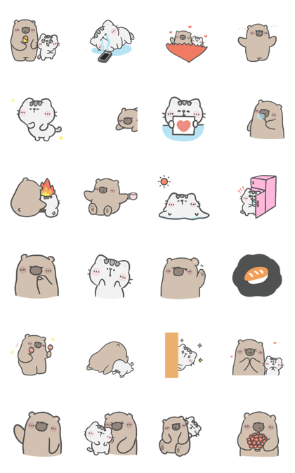 Download Mr. bear and his cutie cat: Silent Love Sticker LINE and use on WhatsApp