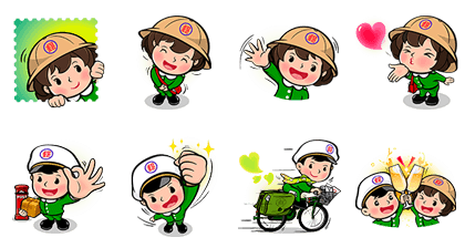 Postal Baby Doll - 6493 Line Sticker GIF & PNG Pack: Animated & Transparent No Background | WhatsApp Sticker