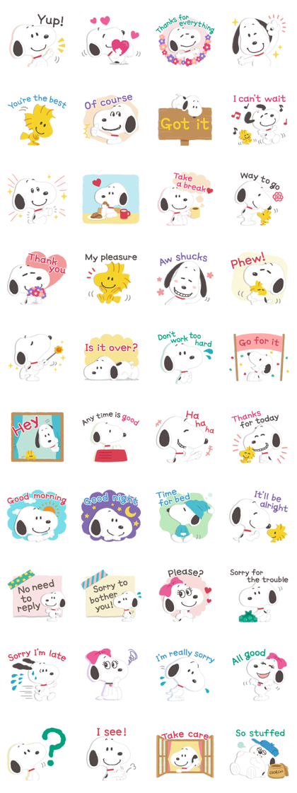 Download Thoughtful Snoopy Stickers Sticker LINE and use on WhatsApp