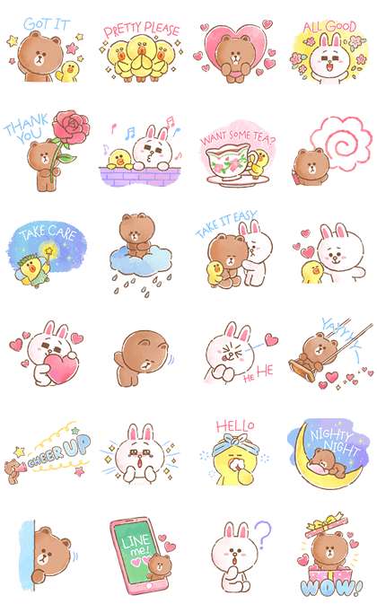 BROWN & FRIENDS warm and sweet watercolor Line Sticker GIF & PNG Pack: Animated & Transparent No Background | WhatsApp Sticker