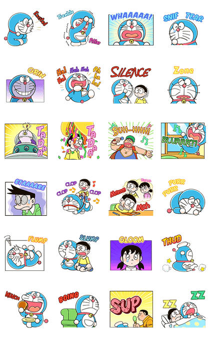 Doraemon Animated Onomatopoeia Line Sticker GIF & PNG Pack: Animated & Transparent No Background | WhatsApp Sticker