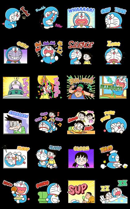 Doraemon Animated Onomatopoeia Line Sticker GIF & PNG Pack: Animated & Transparent No Background | WhatsApp Sticker