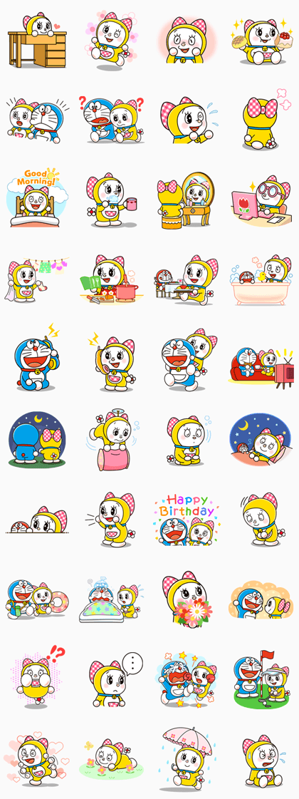 Doraemon & Dorami Line Sticker GIF & PNG Pack: Animated & Transparent No Background | WhatsApp Sticker