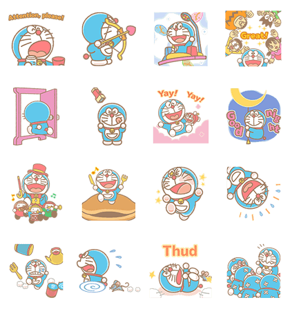 Doraemon Pop-Up Stickers Line Sticker GIF & PNG Pack: Animated & Transparent No Background | WhatsApp Sticker