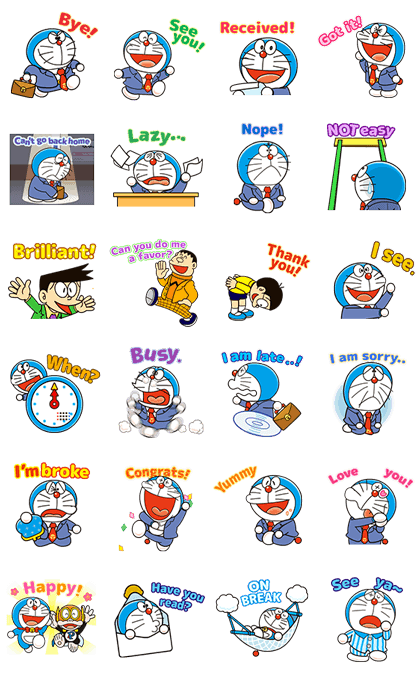 Doraemon on the Job Line Sticker GIF & PNG Pack: Animated & Transparent No Background | WhatsApp Sticker