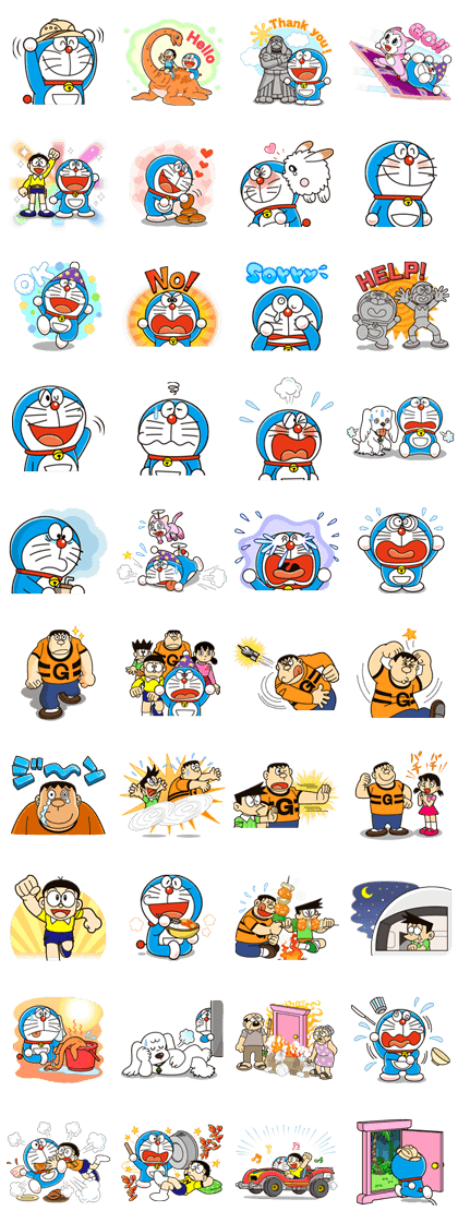 Doraemon the Adventure Line Sticker GIF & PNG Pack: Animated & Transparent No Background | WhatsApp Sticker