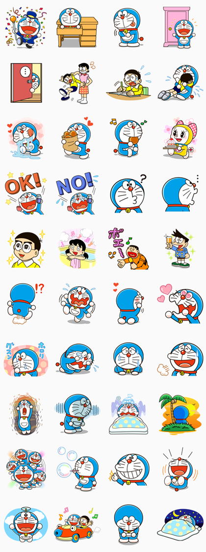 Doraemon Line Sticker GIF & PNG Pack: Animated & Transparent No Background | WhatsApp Sticker