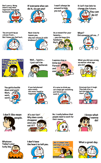 Doraemon's Animated Adages Line Sticker GIF & PNG Pack: Animated & Transparent No Background | WhatsApp Sticker