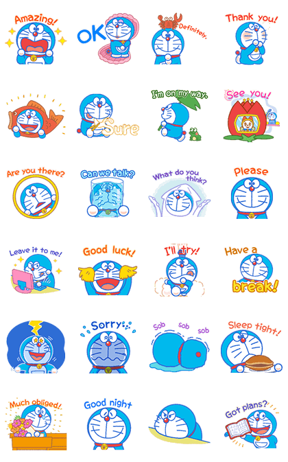 Doraemon's Everyday Expressions Line Sticker GIF & PNG Pack: Animated & Transparent No Background | WhatsApp Sticker
