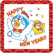 Doraemon's New Year's Gift Stickers Sticker for LINE & WhatsApp | ZIP: GIF & PNG