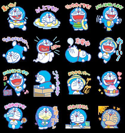 Doraemon's Summer Vacation Line Sticker GIF & PNG Pack: Animated & Transparent No Background | WhatsApp Sticker