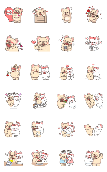 French Bulldog PIGU-Animated Sticker I Line Sticker GIF & PNG Pack: Animated & Transparent No Background | WhatsApp Sticker