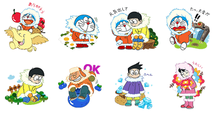 LINE PokoPoko & Doraemon the Movie 2017 Line Sticker GIF & PNG Pack: Animated & Transparent No Background | WhatsApp Sticker
