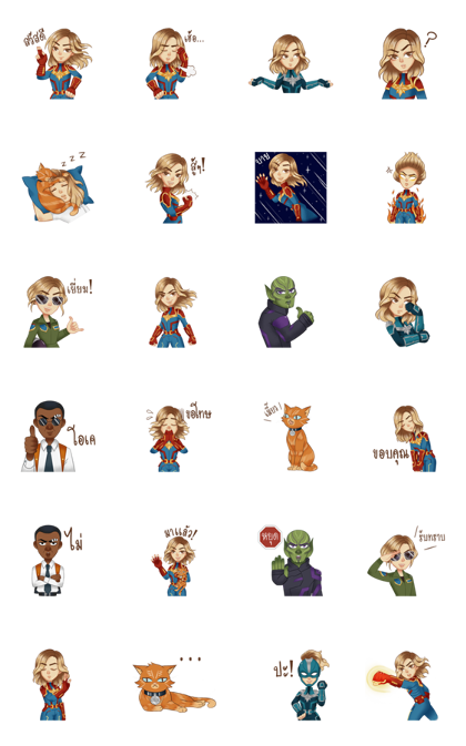 Marvel Studios' Captain Marvel Line Sticker GIF & PNG Pack: Animated & Transparent No Background | WhatsApp Sticker