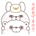 Rabbit and Bear 100% Greetings Sticker for LINE & WhatsApp | ZIP: GIF & PNG