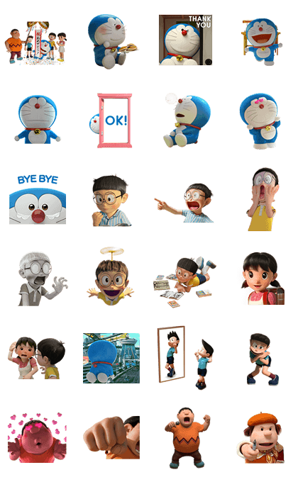 Stand by Me Doraemon Line Sticker GIF & PNG Pack: Animated & Transparent No Background | WhatsApp Sticker