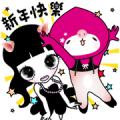 momoco × Lei Lei: Cuteness by Contrast Sticker for LINE & WhatsApp | ZIP: GIF & PNG