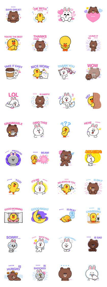 BROWN & FRIENDS Custom Stickers Line Sticker GIF & PNG Pack: Animated & Transparent No Background | WhatsApp Sticker