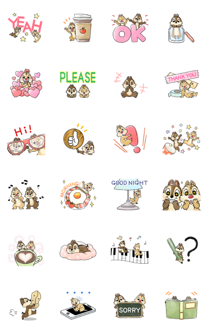 Chip 'n' Dale: Mini Size Line Sticker GIF & PNG Pack: Animated & Transparent No Background | WhatsApp Sticker